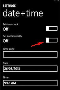 Switch off Automatic Date+Time Update Settings