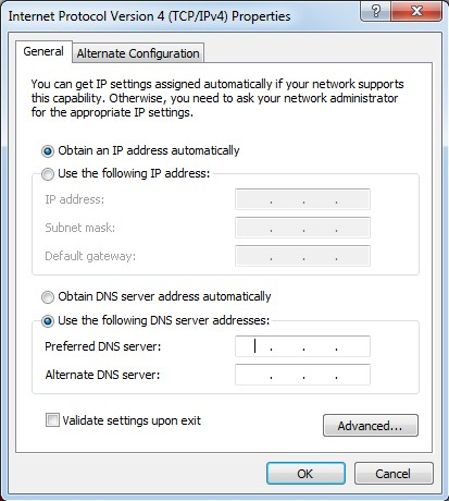 Change the DNS Servers