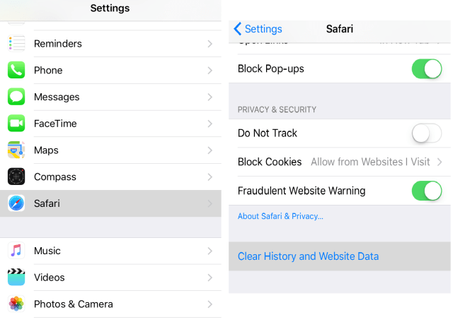 Clear Cookies, Cache and History