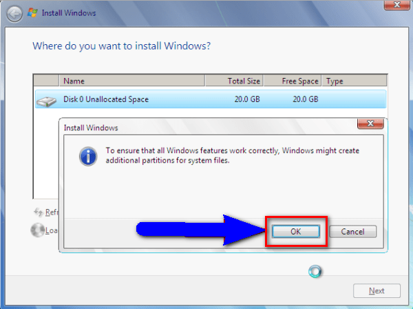 Create New Partition & Reinstall Windows