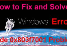 Error Code 0x803f7001