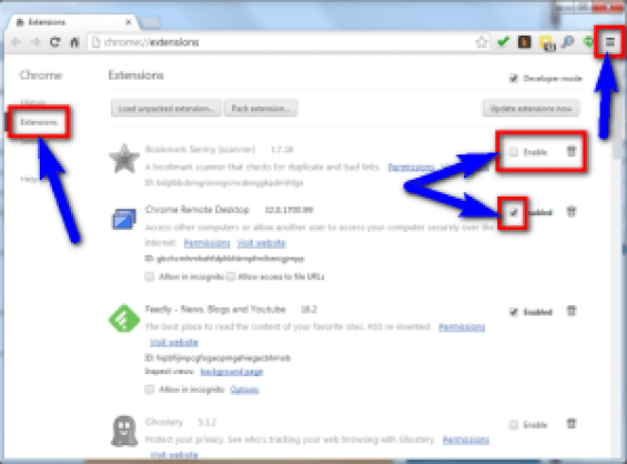 Disable Google Chrome Browser Extensions
