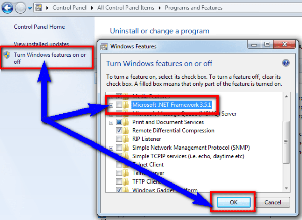 Fix by Turning Windows features on or off