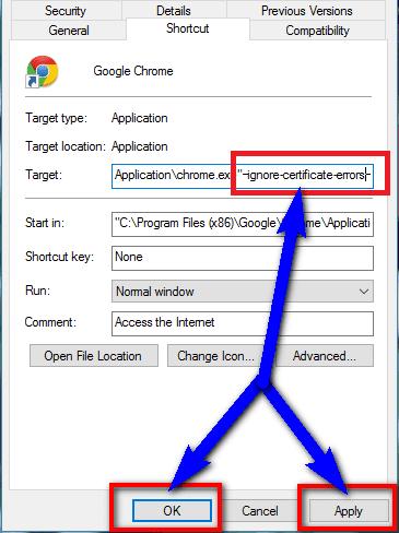 Ignoring Certificate Error