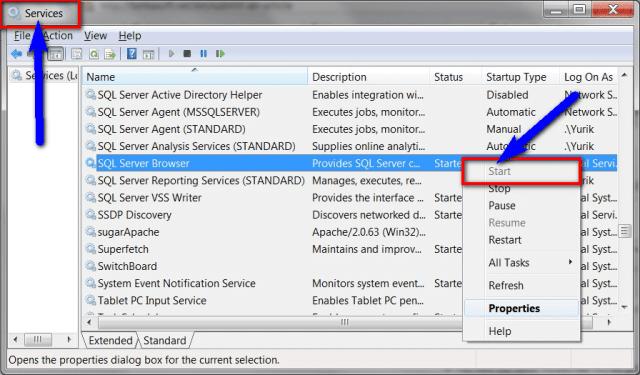 Starting SQL Server Service