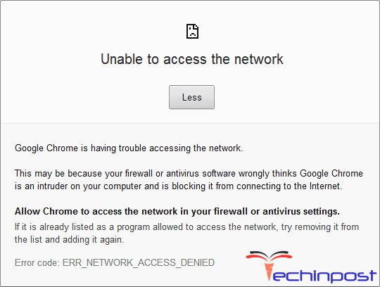 SOLVED] ERR_NETWORK_ACCESS_DENIED Error Code Problem