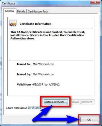 how to solve internet explorer certificate error