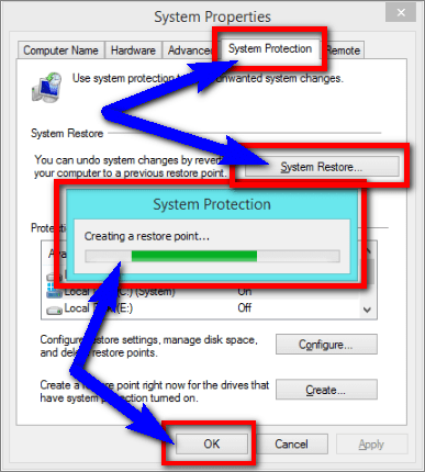 Run System Restore & Create a Restore Point 0xc000021a