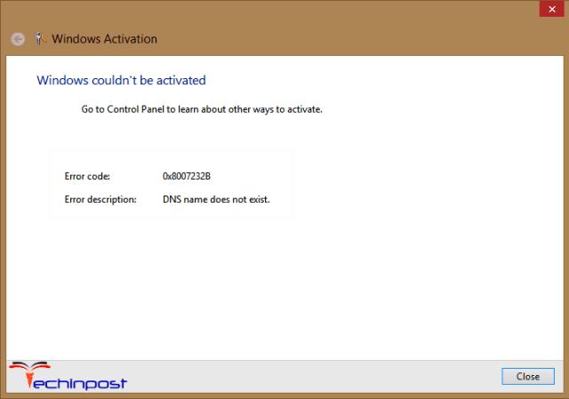 Error Code 0x8007232b