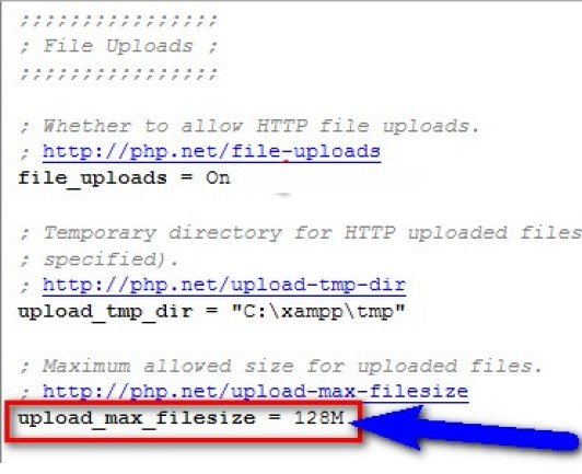 Modify PHP.ini file for Upload limit