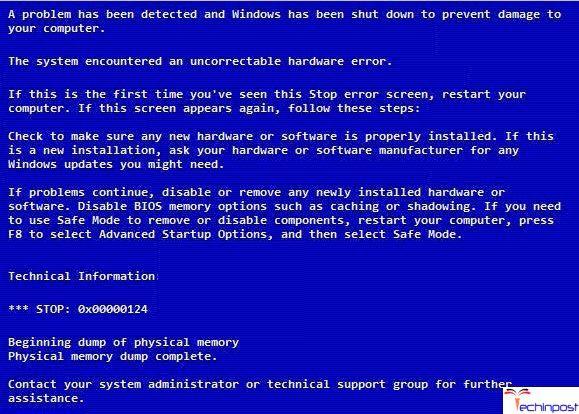 FiXED] Stop Code Error 0x00000124 Windows Blue Screen BSOD Issue