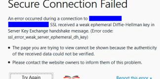 SSL_ERROR_WEAK_SERVER_EPHEMERAL_DH_KEY
