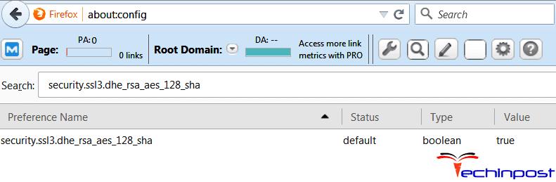 Fix by ignoring SSL_ERROR_WEAK_SERVER_EPHEMERAL_DH_KEY in Mozilla Firefox browser