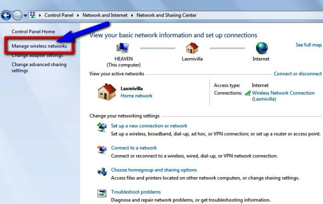 "Click on ""Manage Wireless Networks"" option on the left-side"