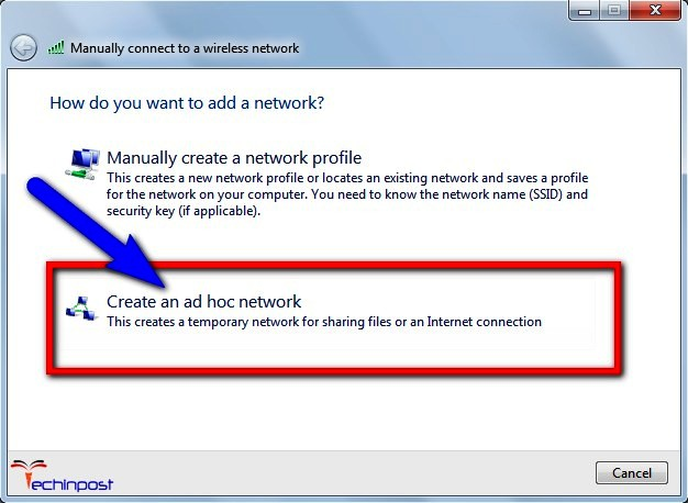 "Select 'Create an ad hoc network"" option there"