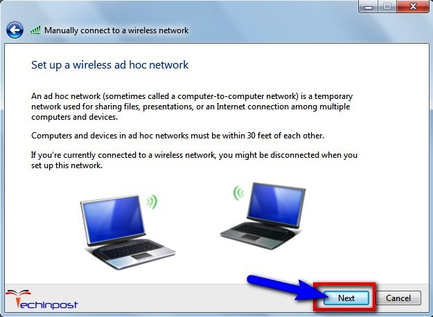 Set up a wireless ad hoc network