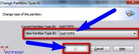 "In the New Partition Type ID, select the ""0x07 NTFS"" there"