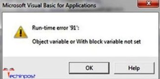 Runtime Error 91