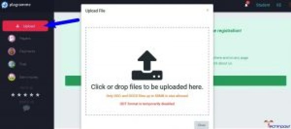 Now, Click on the Upload button & upload any file there -