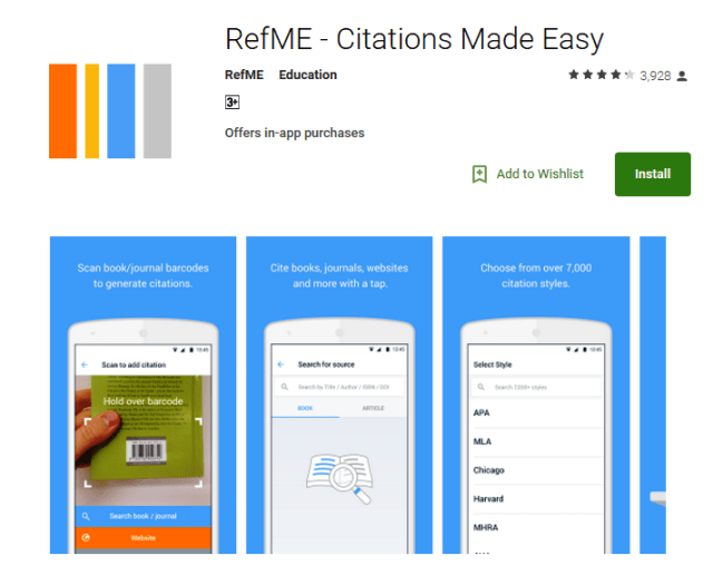 RefMe Android Apps for Students