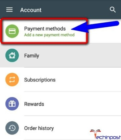 dd a New Payment Method there in Google Play Store