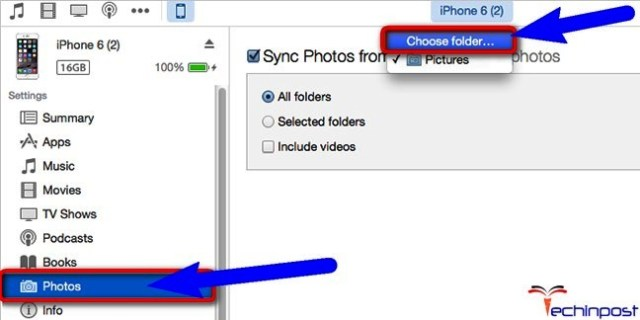 Remove all the Synced Photos by Syncing with New Folder