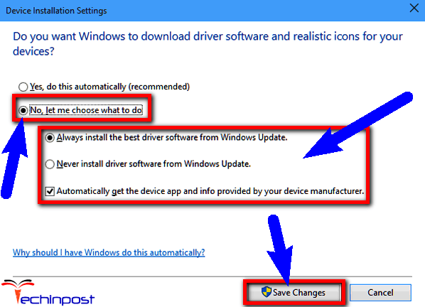 Change the Device Installation Settings