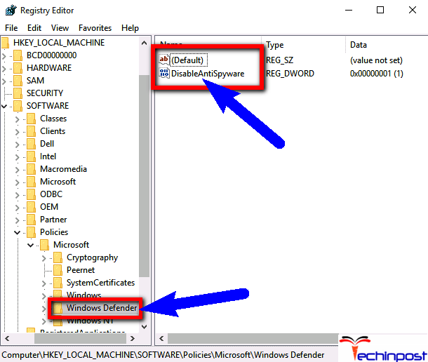 Disable Windows Defender from the Registry Editor