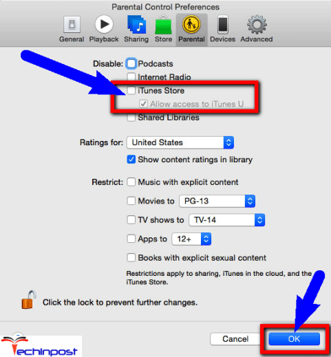 Enable/Disable the iTunes Parental Controls
