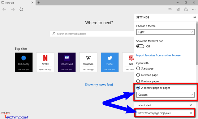 Set a Custom Startup Page on your Microsoft Edge Browser