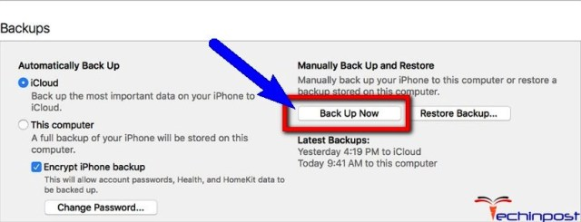 Backup your iPhone with iTunes