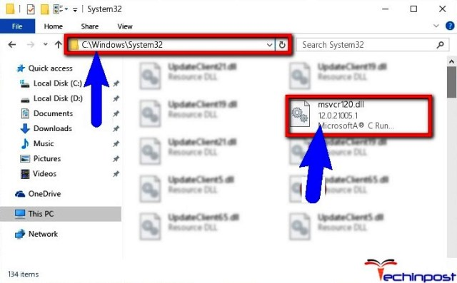 Copying the MSVCR120.dll Library to Windows System Directory