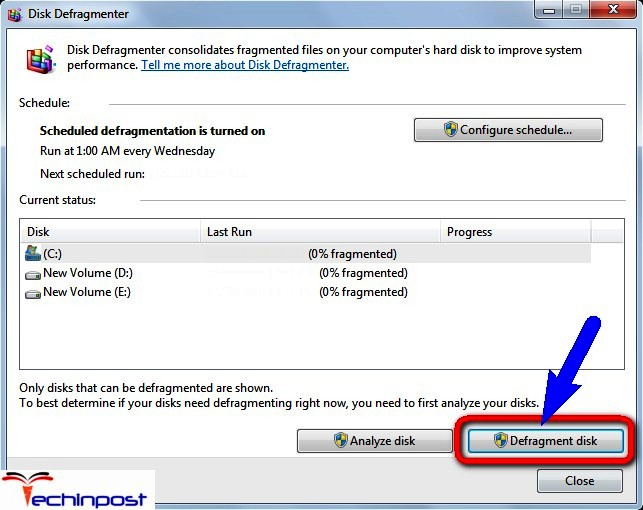 Run the Disk Defragmentation on your Windows PC IRQL_NOT_LESS_OR_EQUAL