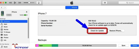 Update your iPhone Device by using the iTunes