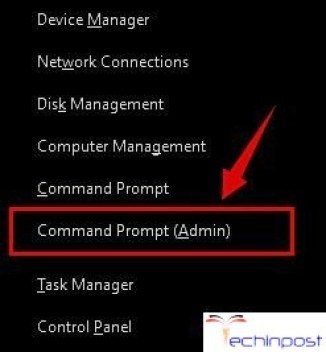 Press the Windows key and X simultaneously, then click on Command Prompt (Admin)