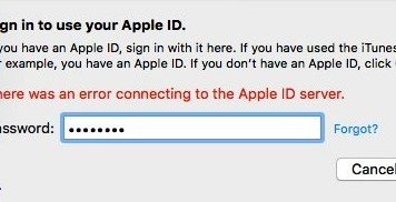 There was an Error Connecting to the Apple ID Server
