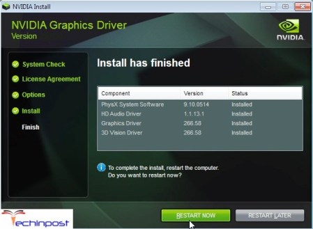 nvidia installer has finished