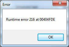 FiXED] Runtime Error 216 Windows Code Problem (100% Working)
