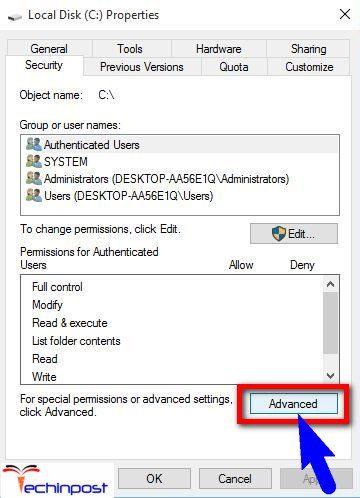 Security ->Advanced