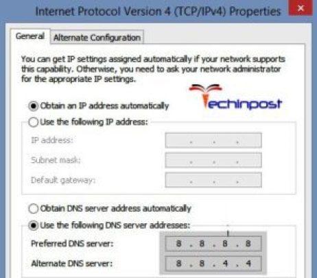 Obtaining IP Address Automatically and Setting Custom DNS