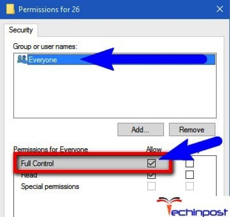 "Select Everyone from the user names list and enable ""Allow"" check box given for ""Full Control"" permission"