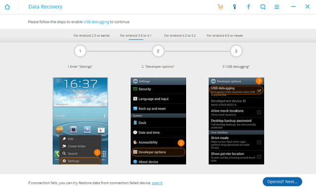For Android 3.0 to Android 4.1