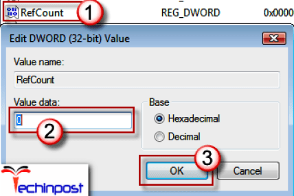 Click on the folder without the .bak extension in the detailed pane and double-click on the RefCount. Type 0 in Value data, and click OK