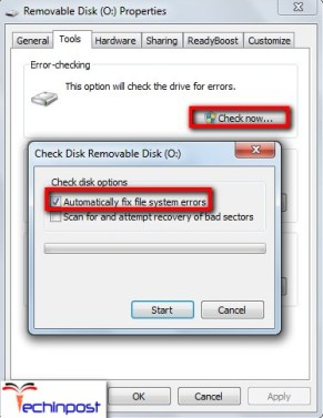 Enable the 'Automatically fix file system errors' and 'Scan for and attempt recovery or bad sectors' options here by checking their respective boxes