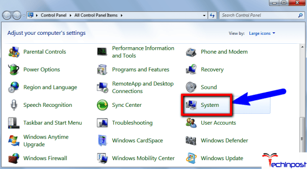 Firstly, open Control Panel and then click on System