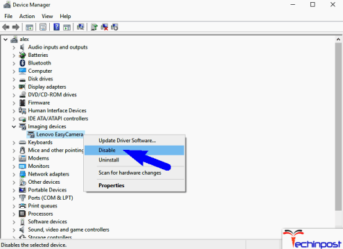 Now, Find the camera driver, Easy Camera from the list and check for any error before updating it