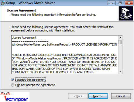 Now click 'Next' button for continuing the Windows Movie Maker installation process. Select 'I accept the agreement' to continue again. Please read the Windows Movie Maker License Agreement carefully before you accept it
