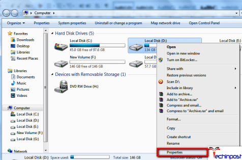Right-click on a partition of the HDD that has been affected by this Windows Detected a Hard Disk Problem Virus issue and clicked onProperties
