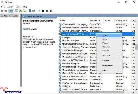 Check if Internet Explorer ETW Service is Running
