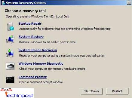 Choose Repair your computer. After that, select a system to restore and click